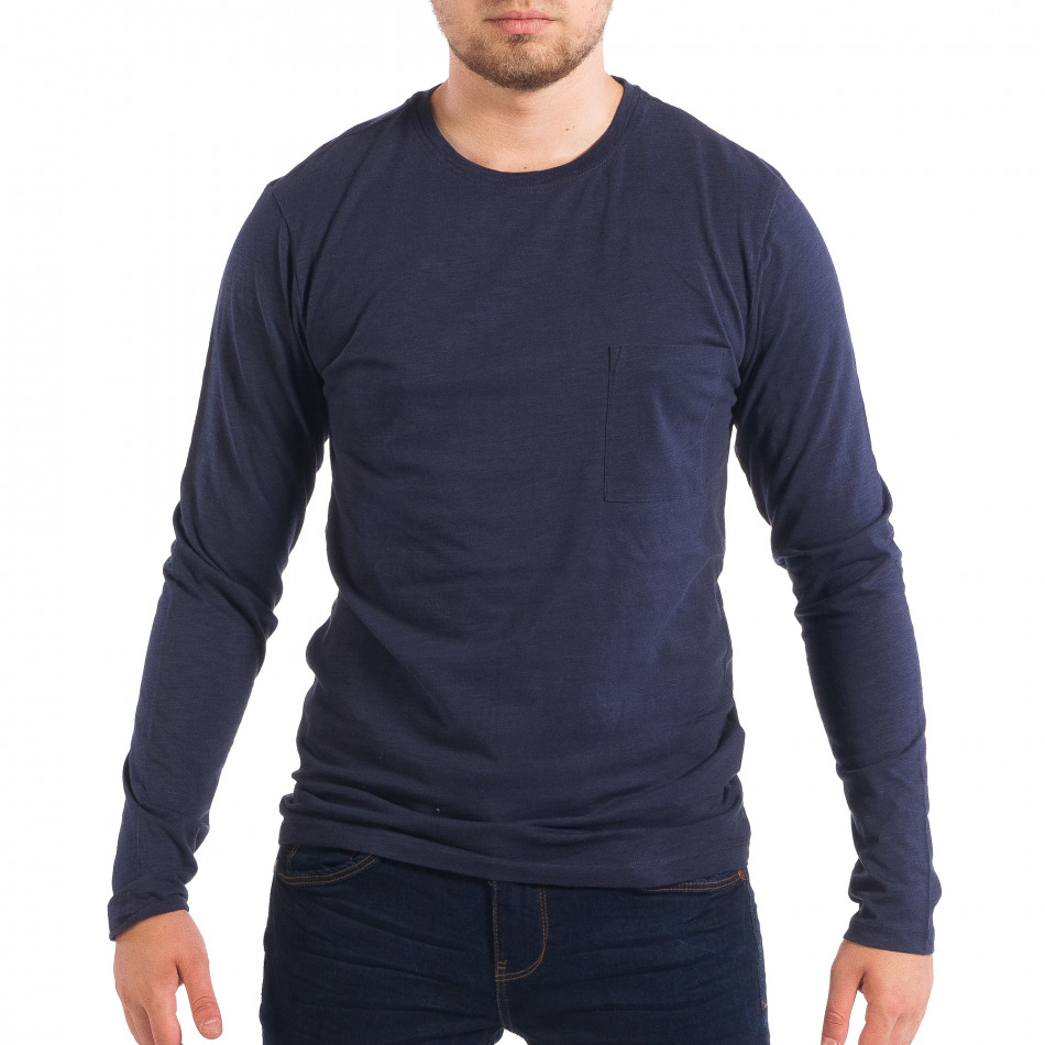 Ανδρική μπλε μπλούζα με τσέπη lp070818-46
