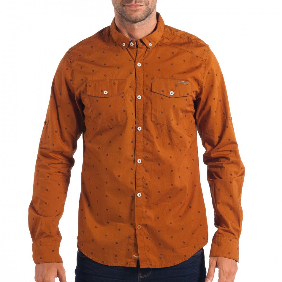 Ανδρικό Slim fit πουκάμισο σε χρώμα camel CROPP lp070818-109