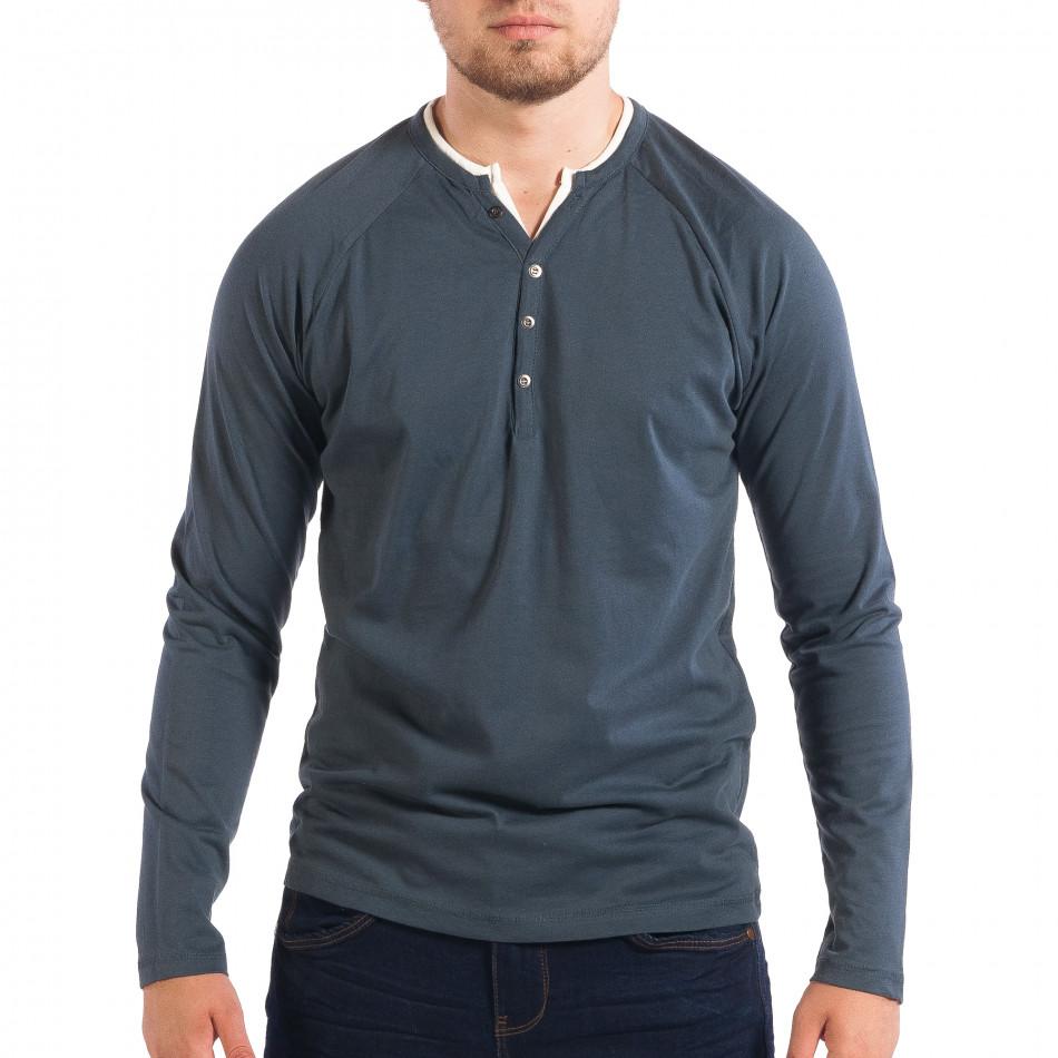 Ανδρική μπλε μπλούζα RESERVED Organic Cotton lp070818-52