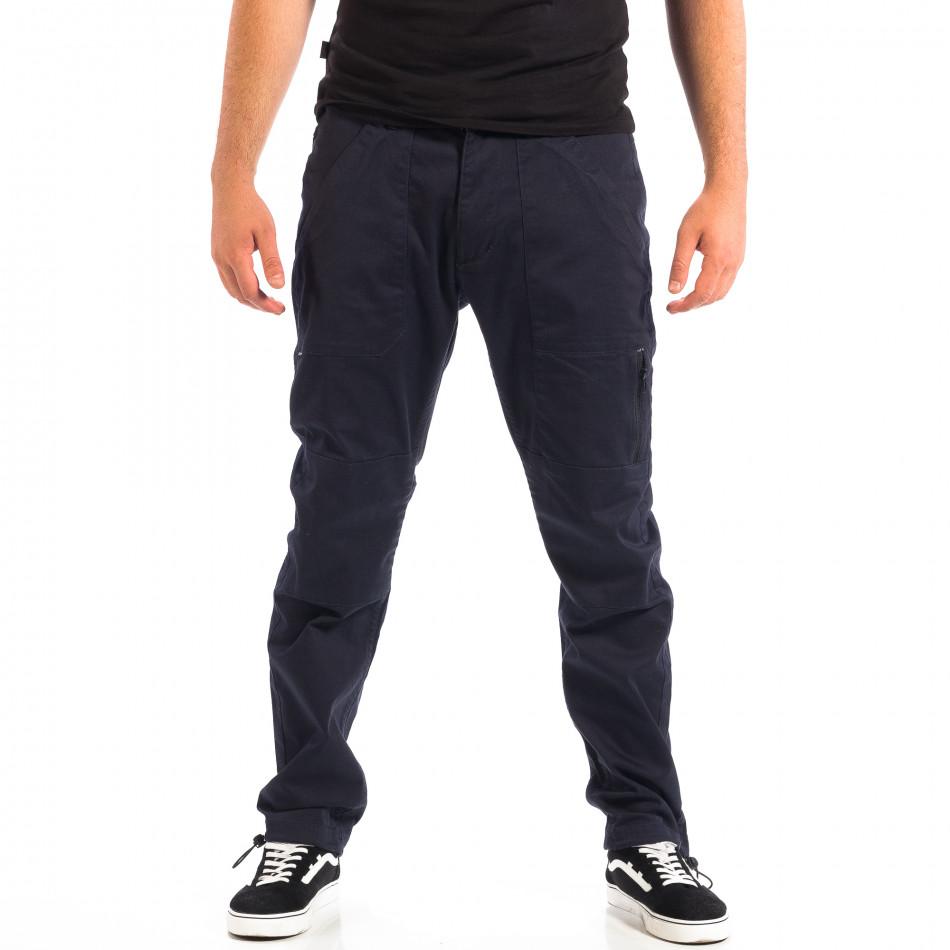 Ανδρικό μπλε παντελόνι με λάστιχο στις άκρες CROPP lp060818-125