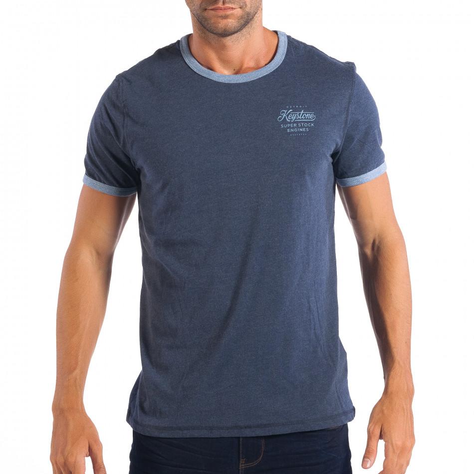 Ανδρική μπλε κοντομάνικη μπλούζα RESERVED lp070818-10