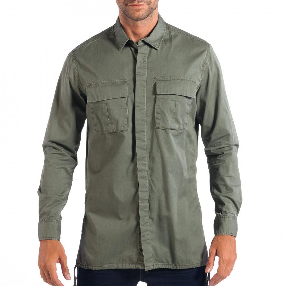 Ανδρικό πράσινο Military πουκάμισο μοντέλο Large RESERVED lp070818-154