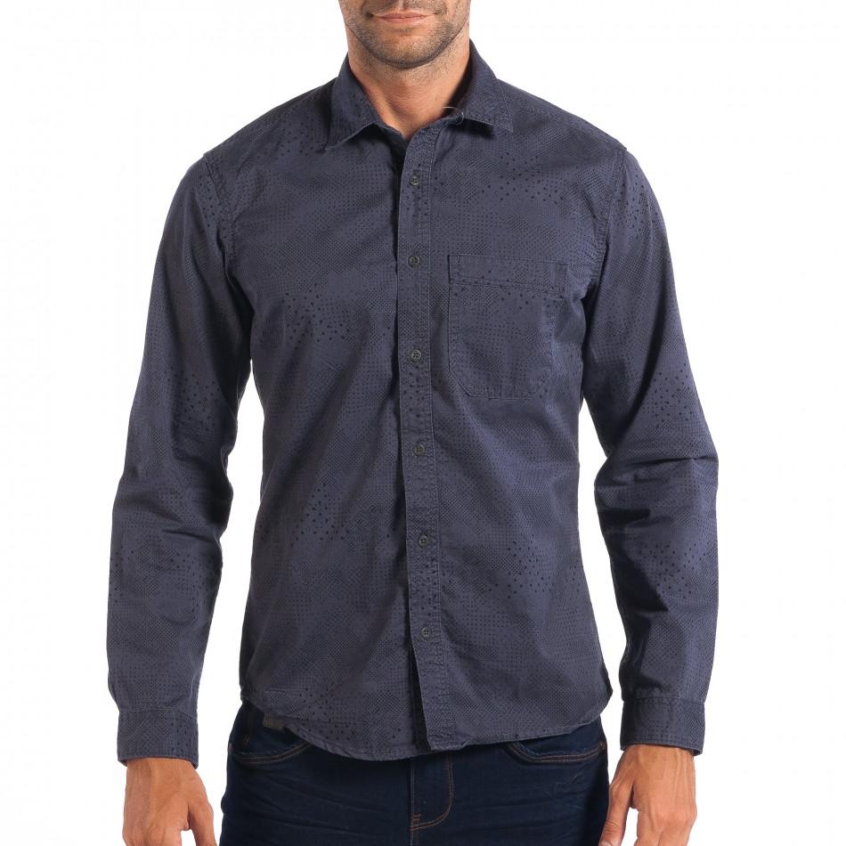 Ανδρικό μπλε Regular πουκάμισο lp070818-113