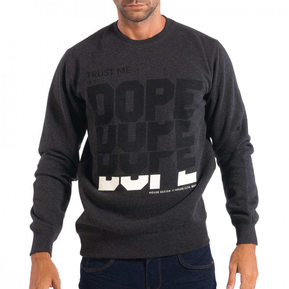 3712c6e072bd Ανδρική γκρι μπλούζα με μαύρες επιγραφές House lp080818-95 ...