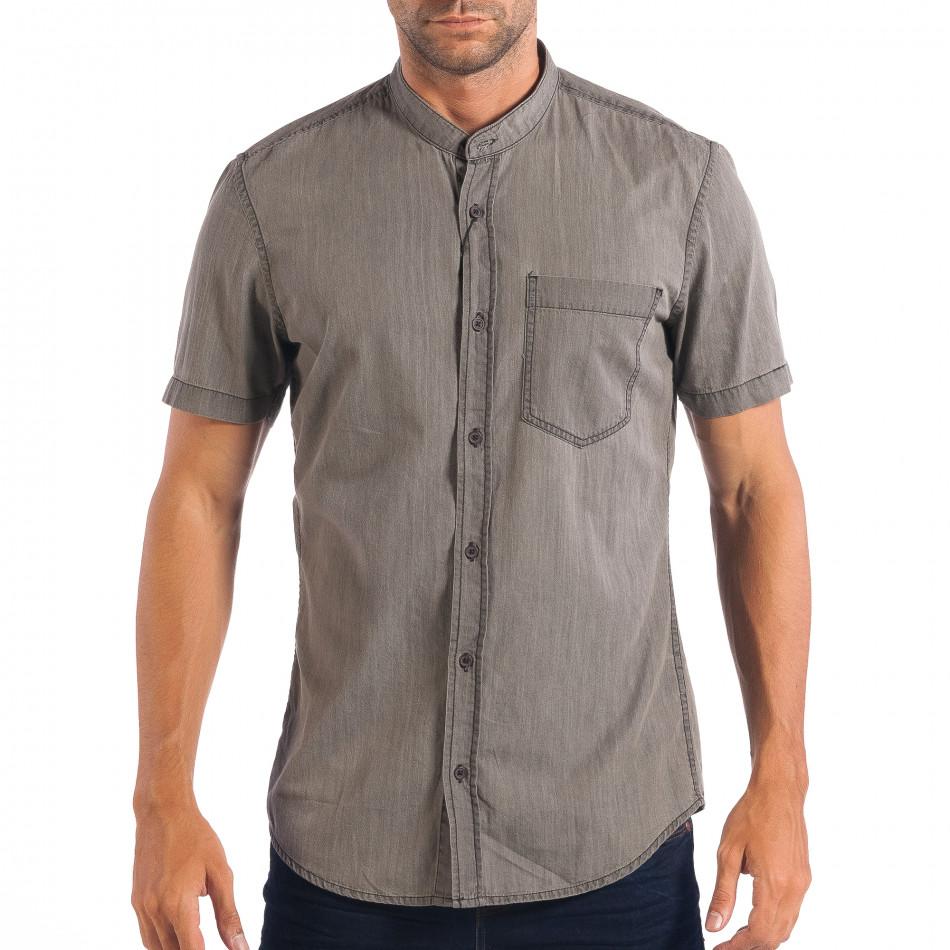 Ανδρικό γκρι κοντομάνικο πουκάμισο RESERVED Regular fit  lp070818-144