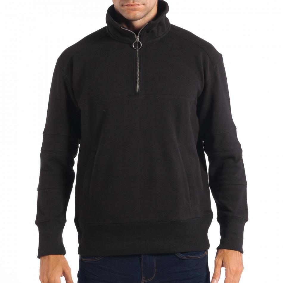 Ανδρικό μαύρο φούτερ με τσέπη καγκουρό RESERVED lp080818-105