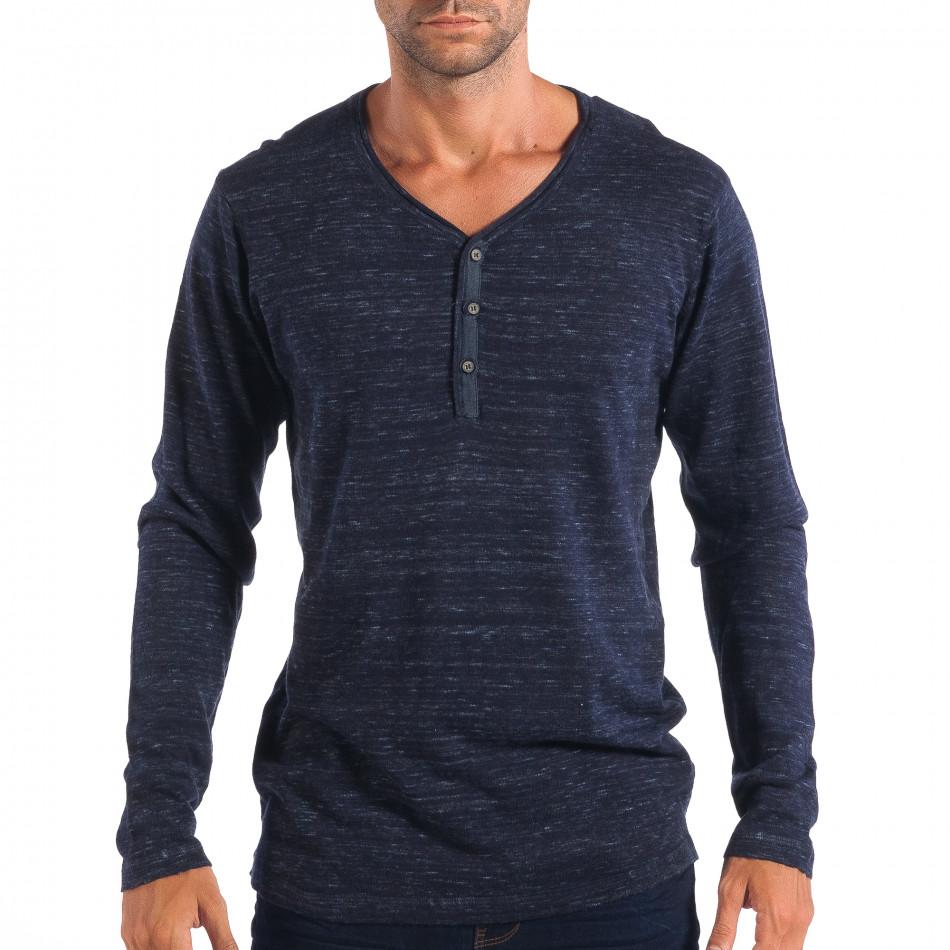 Ανδρικό μπλε πουλόβερ με κομπιά V-neck House lp070818-67