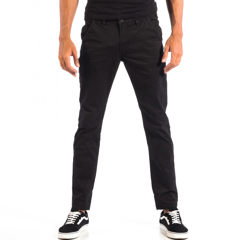 Ανδρικό μαύρο Chino παντελόνι CROPP lp060818-92