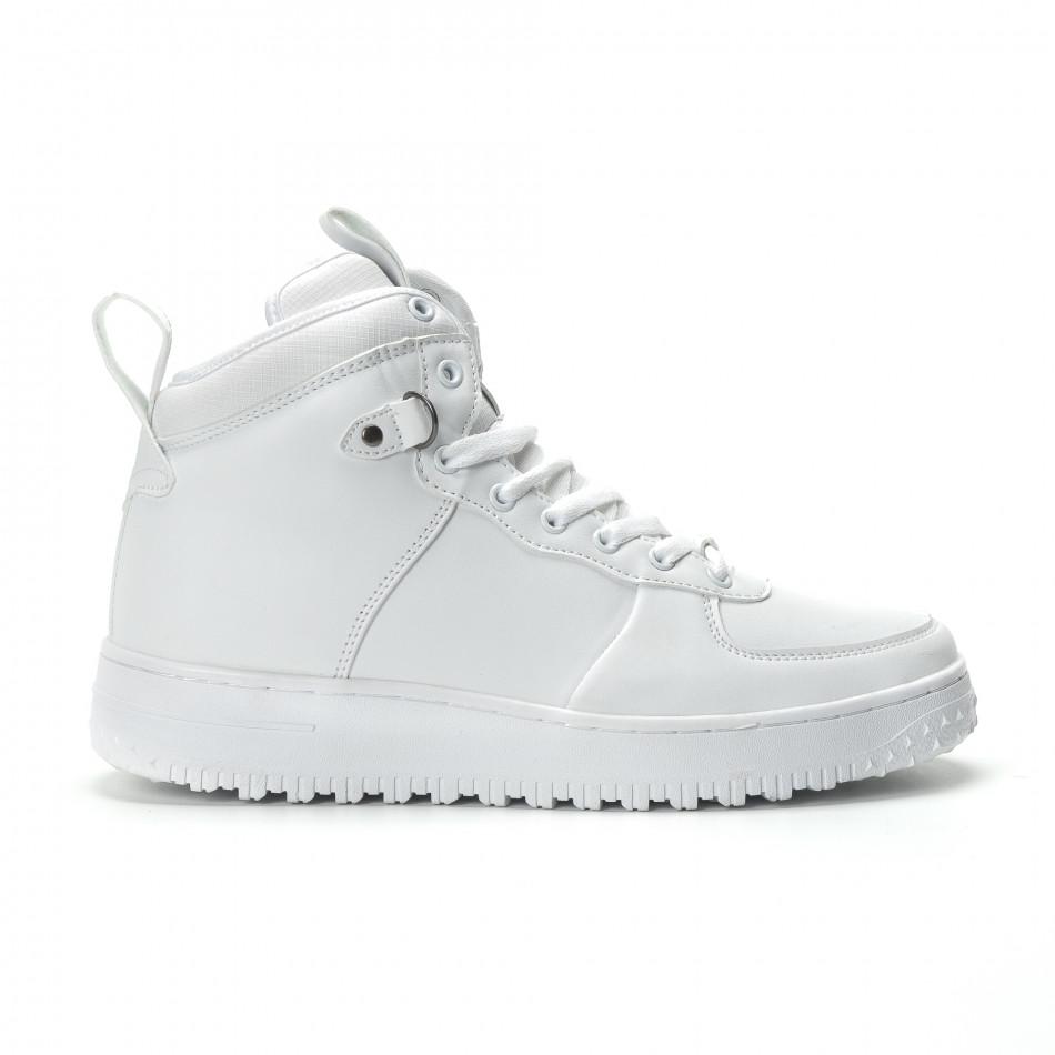 Ανδρικά λευκά ψηλά sneakers με τρακτερωτή σόλα it301118-10-1