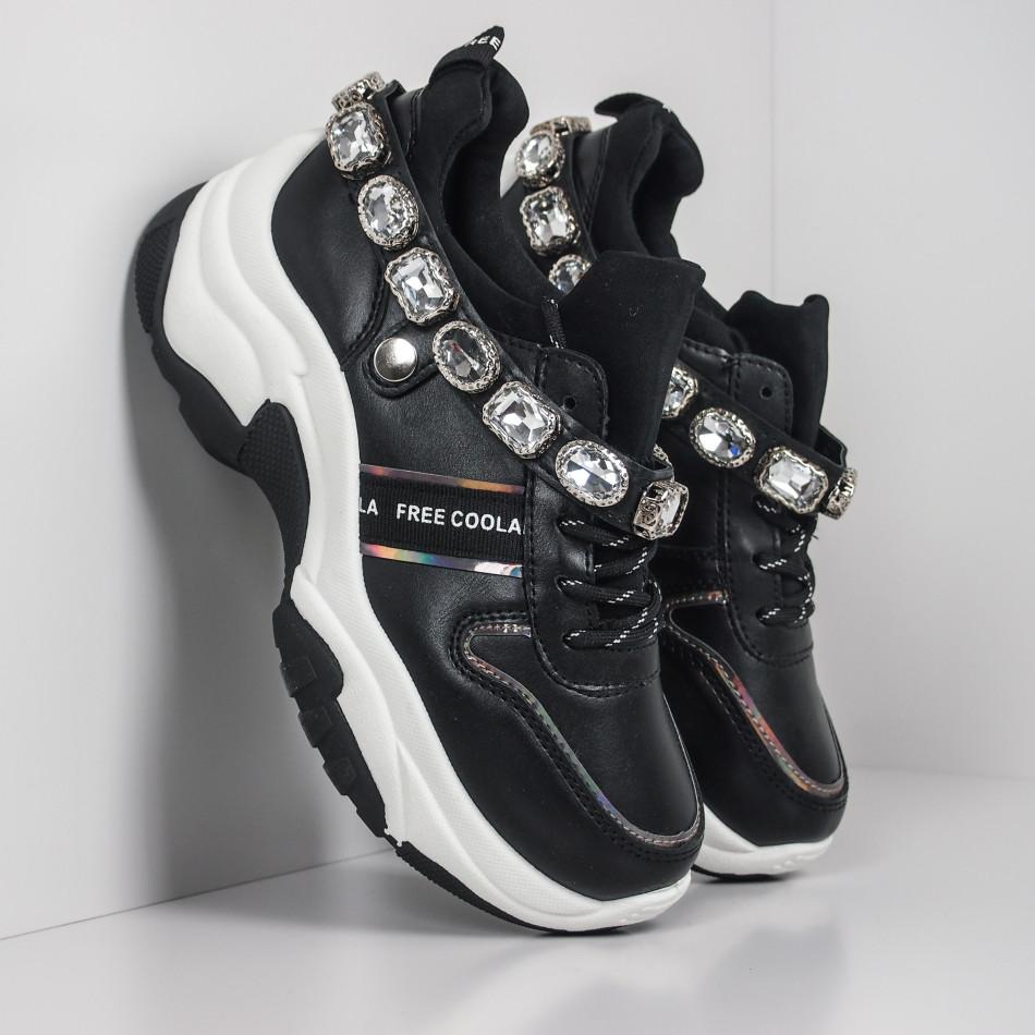 Γυναικεία μαύρα αθλητικά παπούτσια με στρασάκια it260919-62