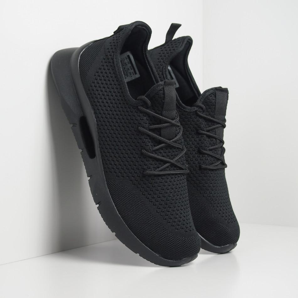 Ανδρικά μαύρα αθλητικά παπούτσια Hole design ελαφρύ μοντέλο it250119-24