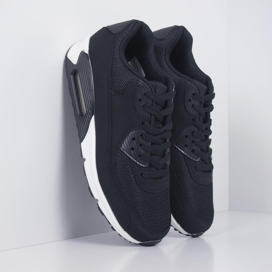 Ανδρικά μαύρα αθλητικά παπούτσια με αερόσολα it251019-8