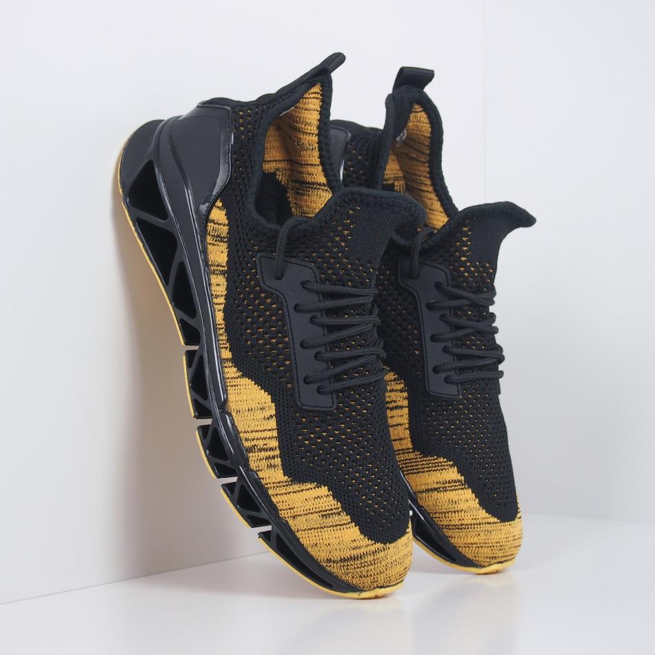 Ανδρικά μαύρα-κίτρινα αθλητικά παπούτσια Knife it251019-23