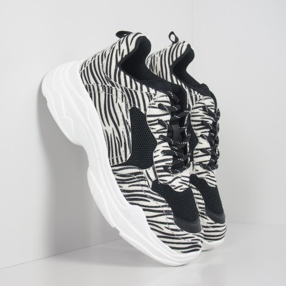 Chunky γυναικεία αθλητικά παπούτσια με μοτίβο ζέβρα it110919-8