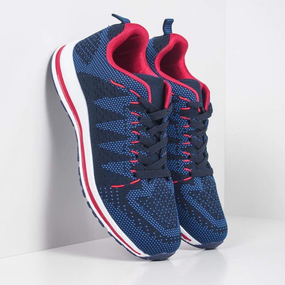 Ανδρικά υφασμάτινα αθλητικά παπούτσια σε μπλε και κόκκινο it251019-6