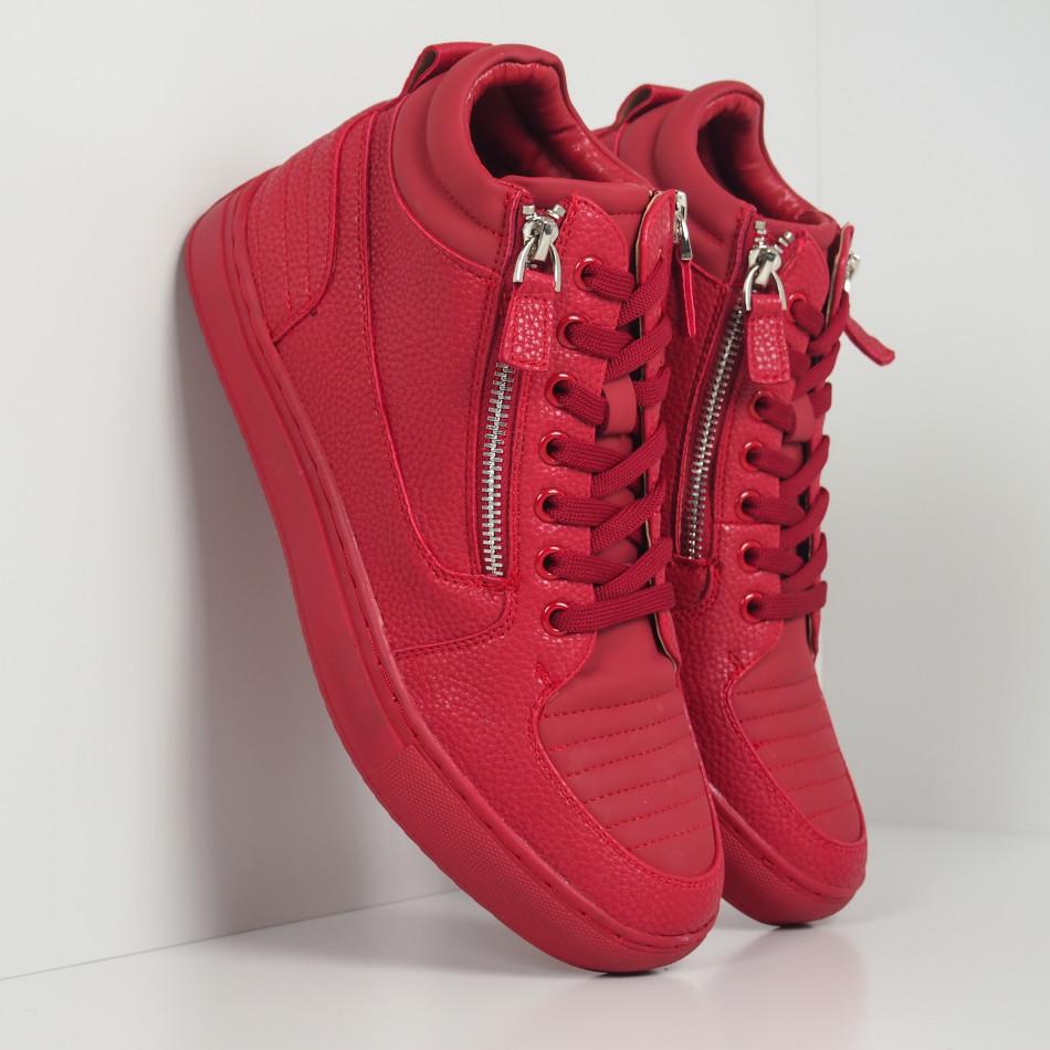 Ανδρικά κόκκινα sneakers με Shagreen design it260919-48