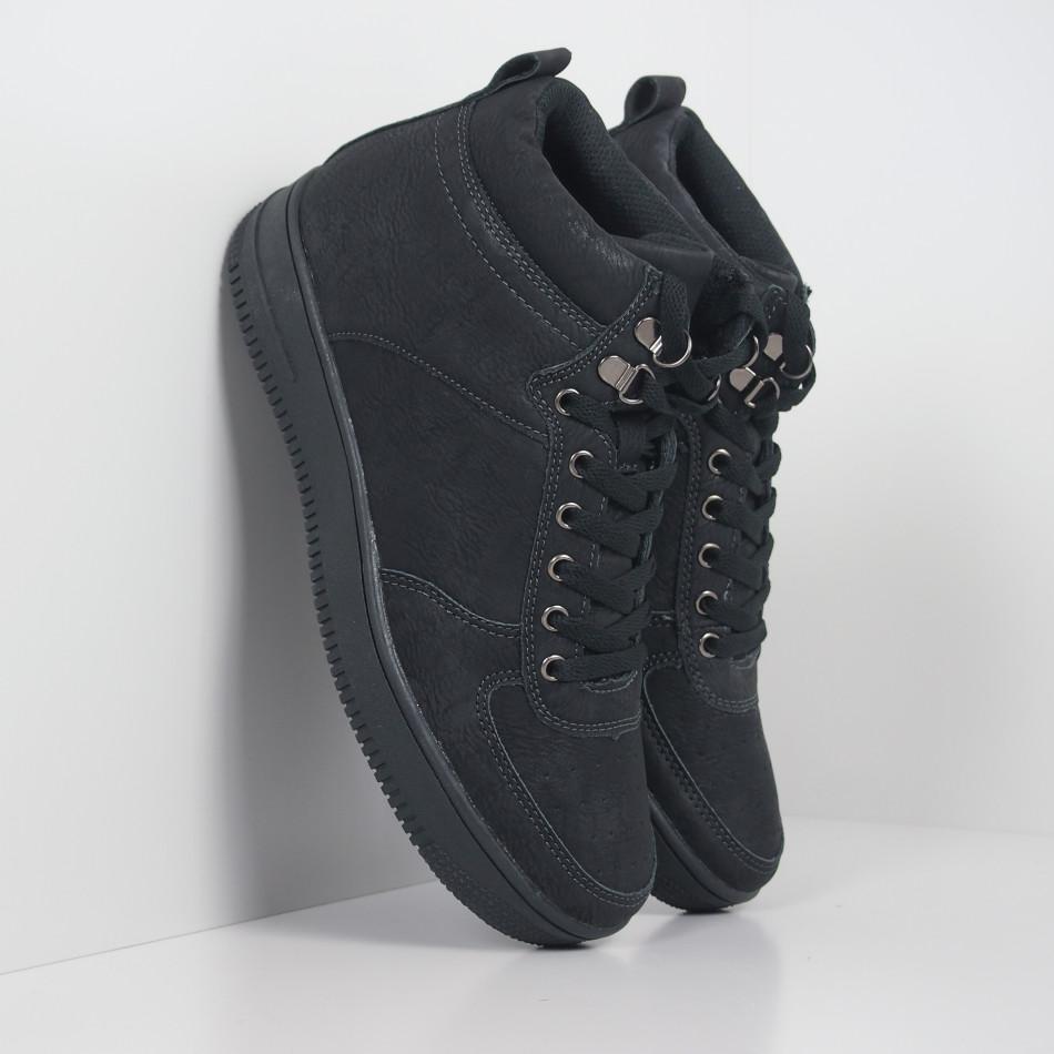 Ανδρικά ψηλά μαύρα sneakers τύπου μποτάκια it251019-18