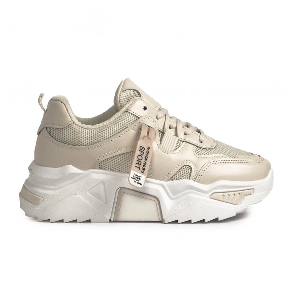Γυναικεία μπεζ sneakers Chunky it310321-10