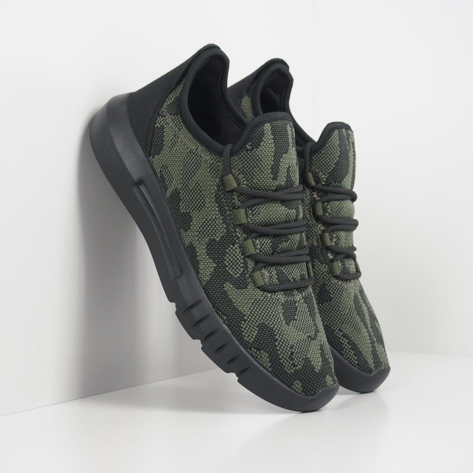 Ανδρικά πράσινα καμουφλαζ αθλητικά παπούτσια ελαφρύ μοντέλο it221119-1