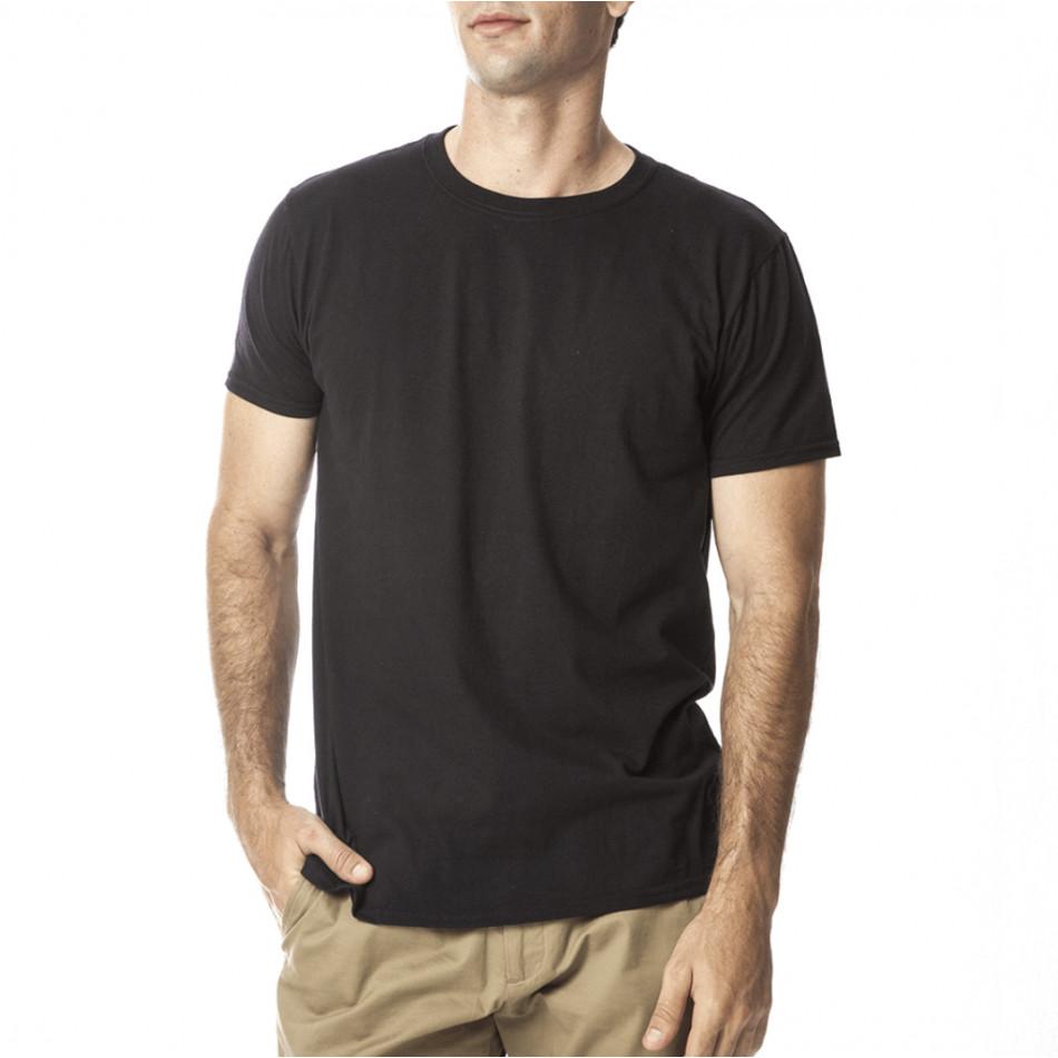 Ανδρική μαύρη κοντομάνικη μπλούζα Basic tmn060120-1