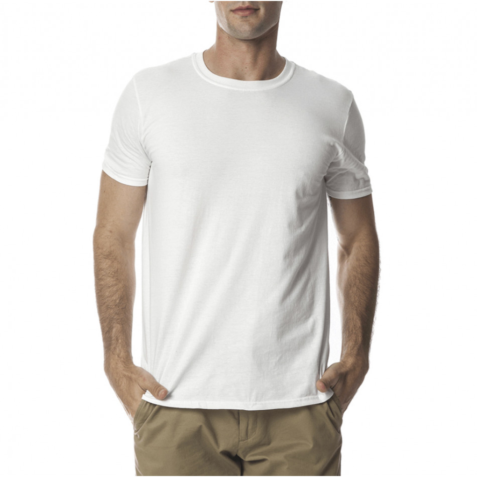 Ανδρική λευκή κοντομάνικη μπλούζα Basic tmn060120-2