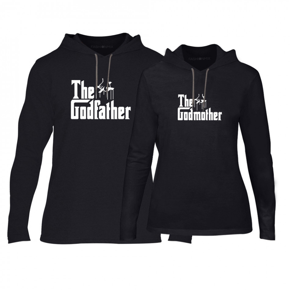 Φούτερ για ζευγάρια Godfather & Godmother μαύρο TMN-CPS-063