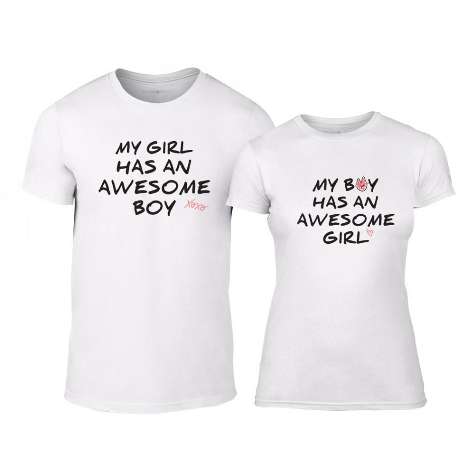Μπλουζες για ζευγάρια The Awesome Boy   Girl λευκό TMN-CP-066 ... 9640b733edd
