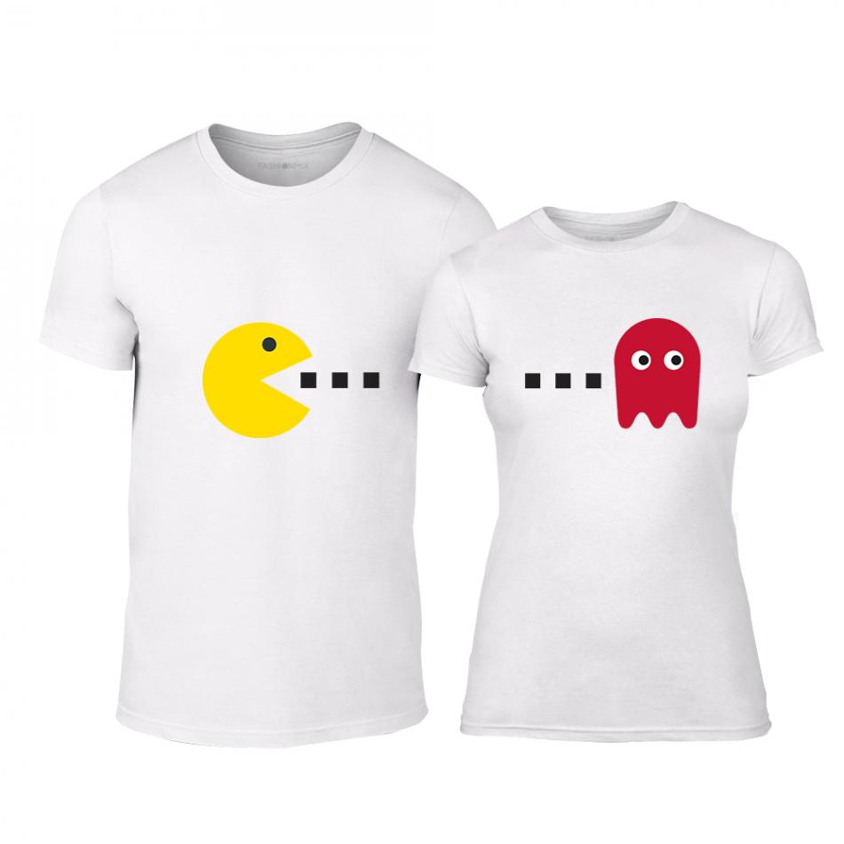 Μπλουζες για ζευγάρια PacMan λευκό TMN-CP-233