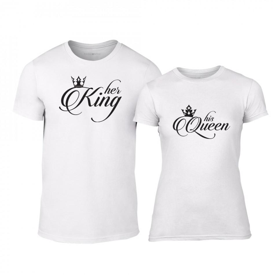 33d0cc2a86f0 Μπλουζες για ζευγάρια King   Queen λευκό TMN-CP-013 - Fashionmix.gr