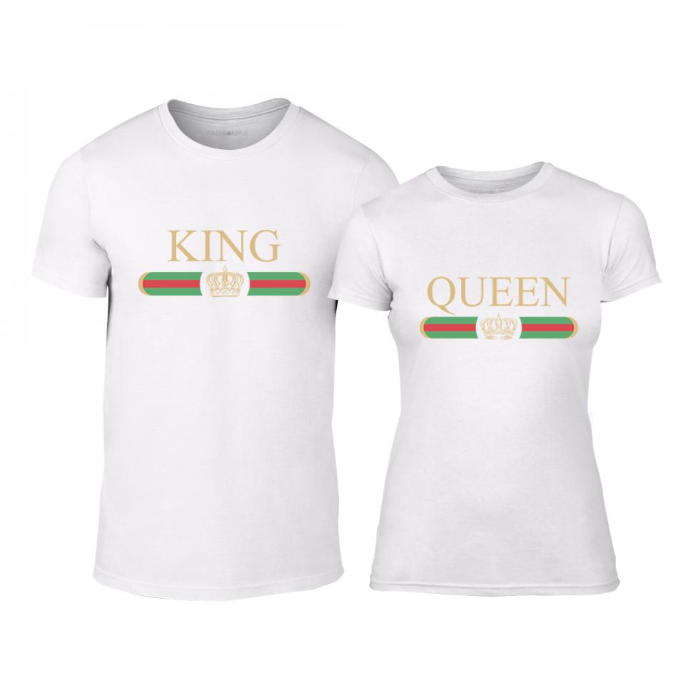 Μπλουζες για ζευγάρια Fashion King Queen λευκό TMN-CP-244