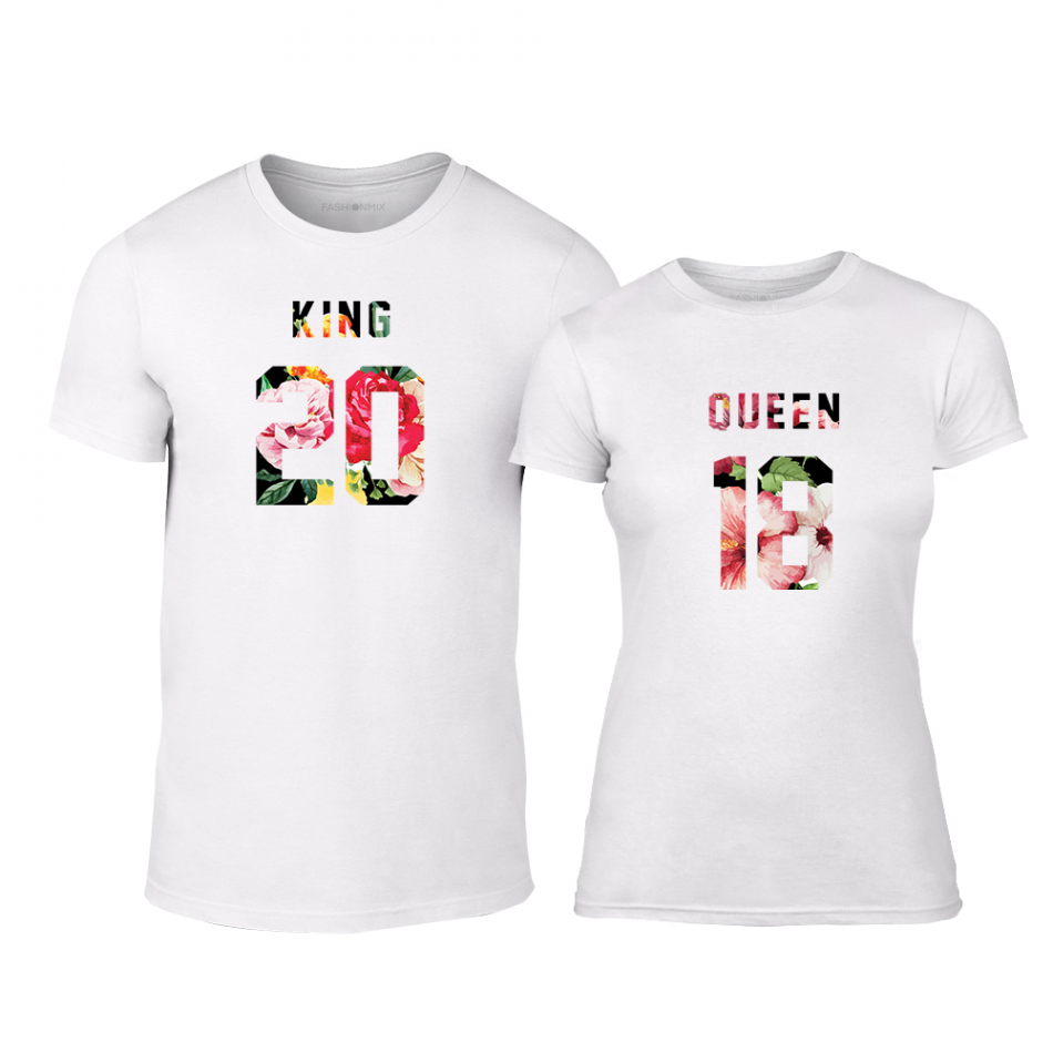 Μπλουζες για ζευγάρια King & Queen 2018 λευκό TMN-CP-217