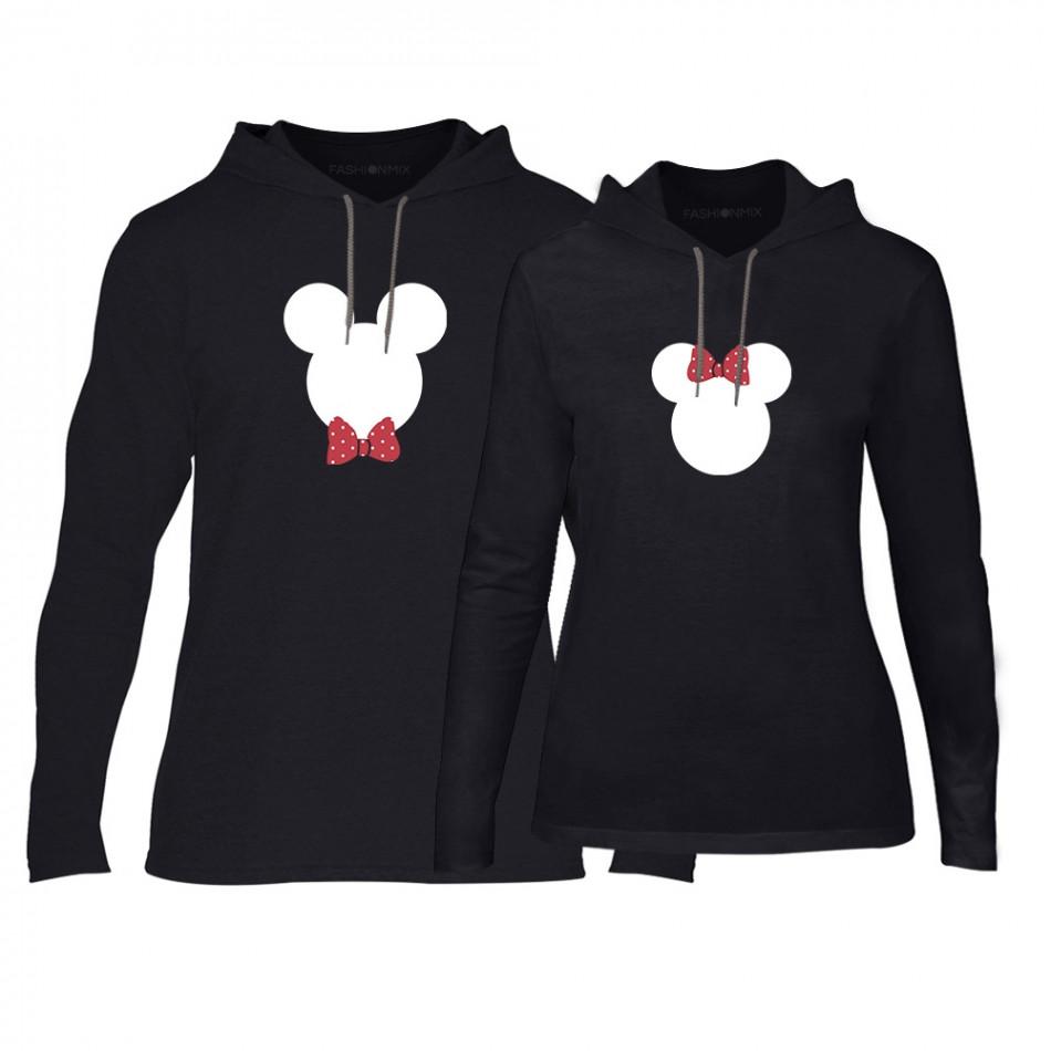 Φούτερ για ζευγάρια Mickey & Minnie μαύρο TMN-CPS-029