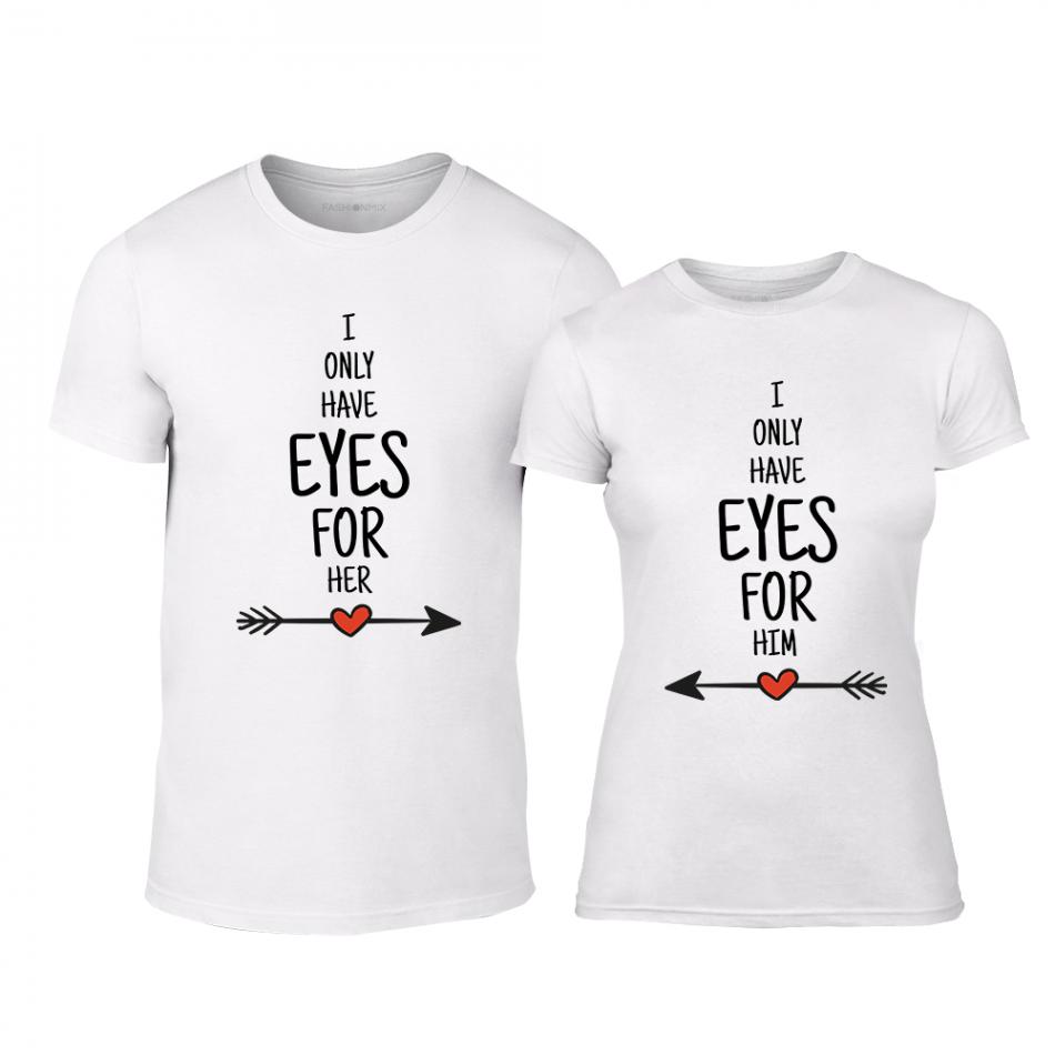 Μπλουζες για ζευγάρια Eyes for You λευκό TMN-CP-258