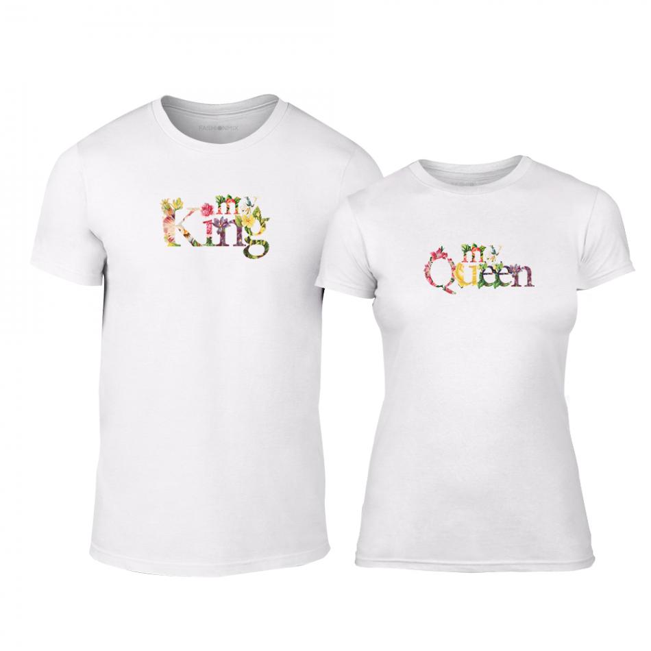 Μπλουζες για ζευγάρια My King My Queen λευκό TMN-CP-221