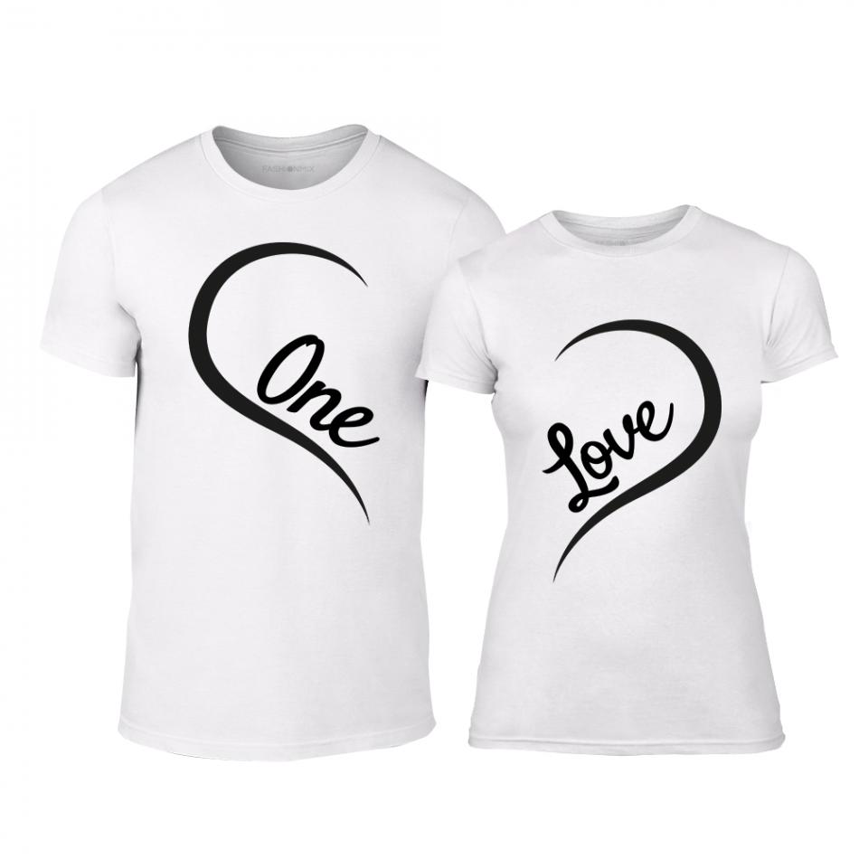 Μπλουζες για ζευγάρια One Love λευκό TMN-CP-242