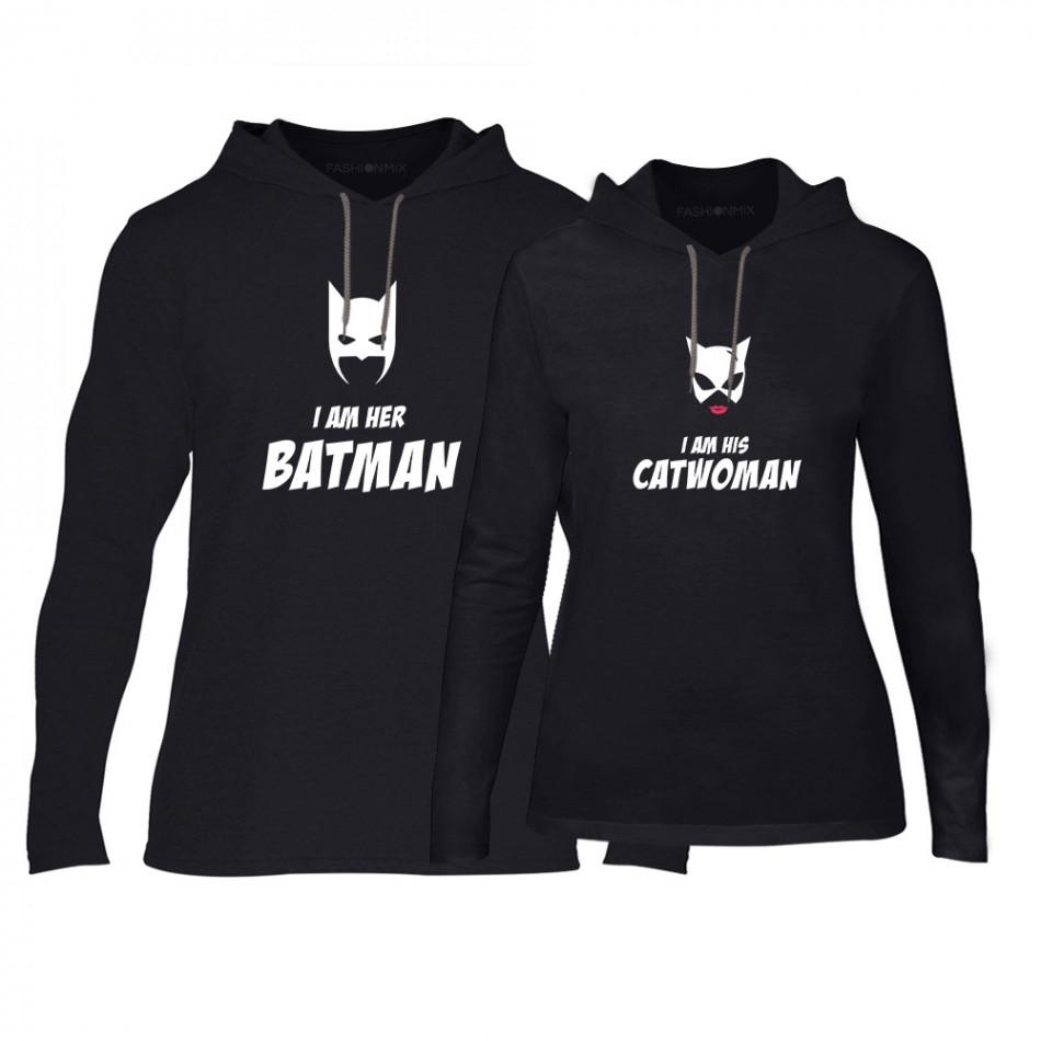 Φούτερ για ζευγάρια Batman & Catwoman μαύρο TMN-CPS-049