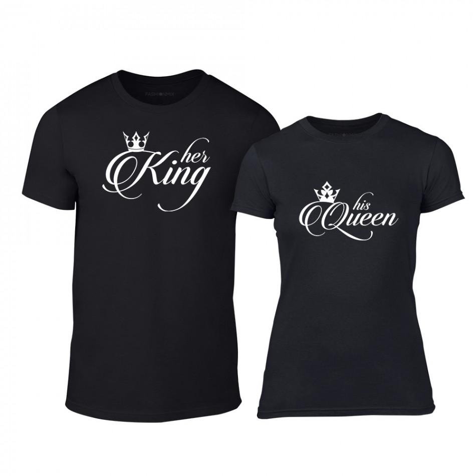 Μπλουζες για ζευγάρια King & Queen μαύρο TMN-CP-014