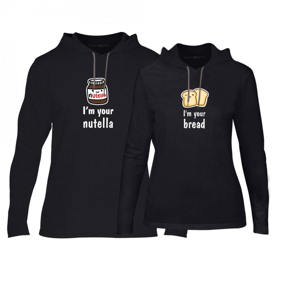 Φούτερ για ζευγάρια Nutella & Bread μαύρο TMN-CPS-100