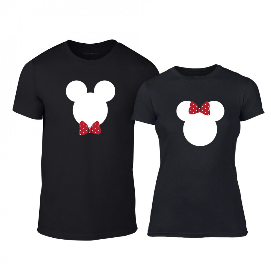 Μπλουζες για ζευγάρια Mickey & Minnie μαύρο TMN-CP-029