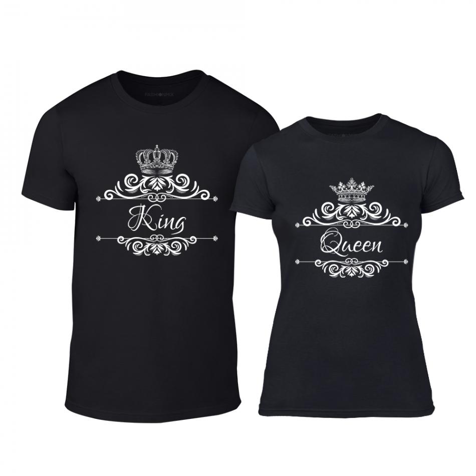 Μπλουζες για ζευγάρια Romantic King Queen μαύρο TMN-CP-249