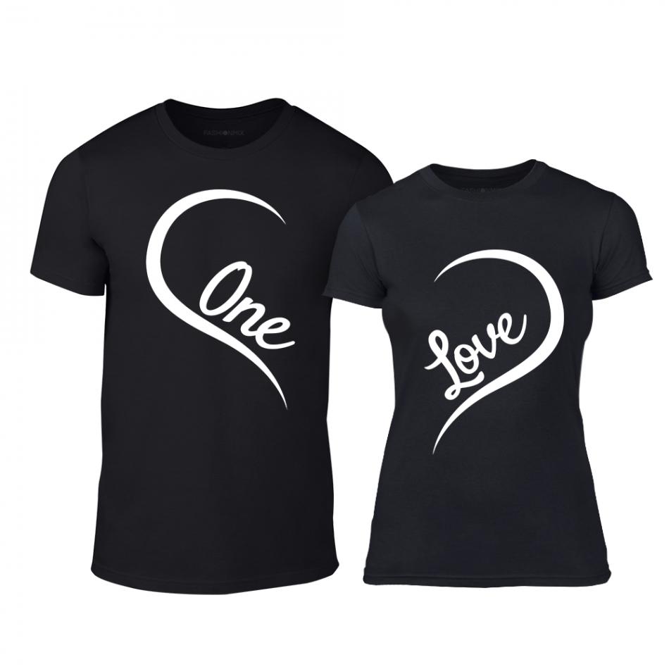 Μπλουζες για ζευγάρια One Love μαύρο TMN-CP-243