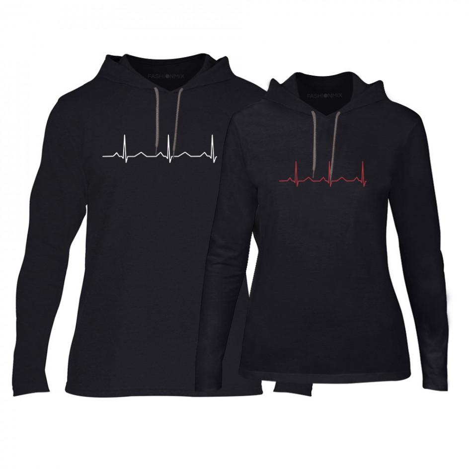 Φούτερ για ζευγάρια Heartbeats μαύρο TMN-CPS-142