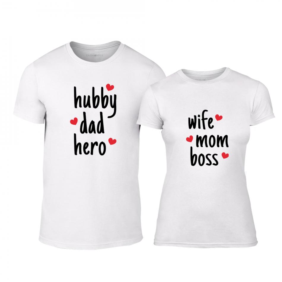 Μπλουζες για ζευγάρια Hero & Boss λευκό TMN-CP-240