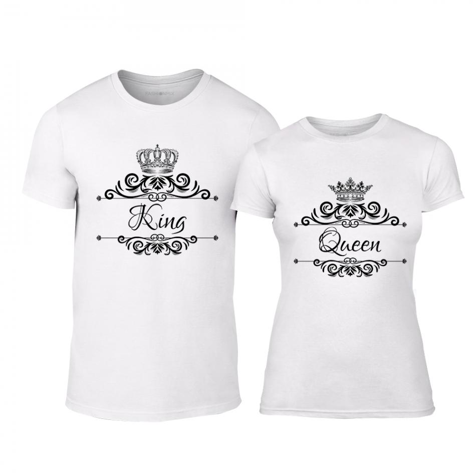 Μπλουζες για ζευγάρια Romantic King Queen λευκό TMN-CP-248
