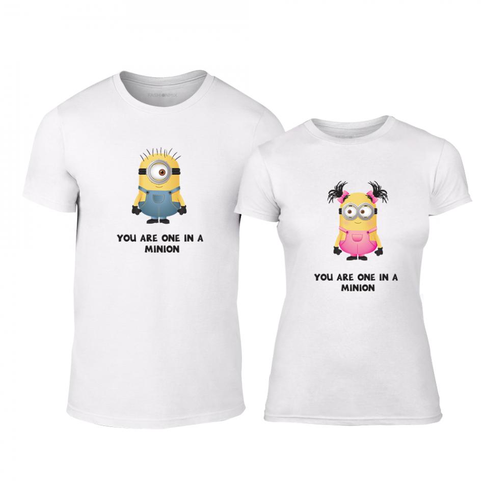 Μπλουζες για ζευγάρια One in a Minion λευκό TMN-CP-229