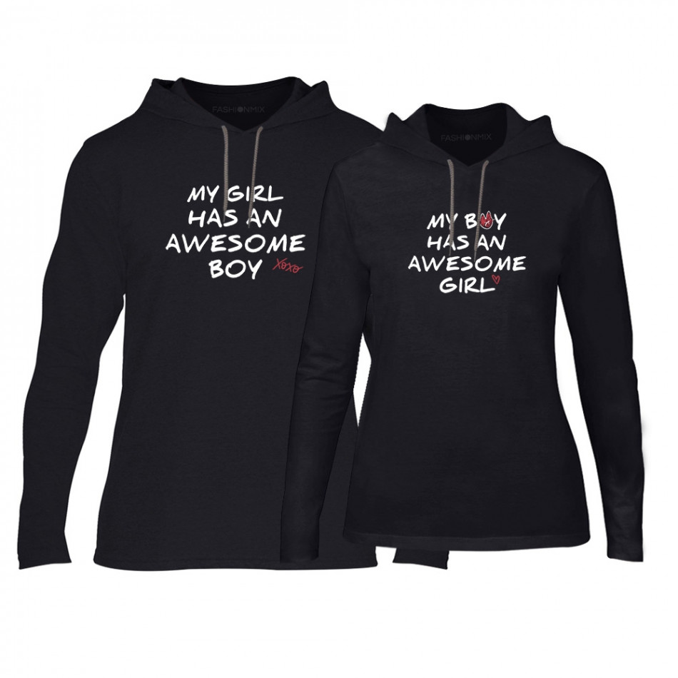 Φούτερ για ζευγάρια The Awesome Boy & Girl μαύρο TMN-CPS-067