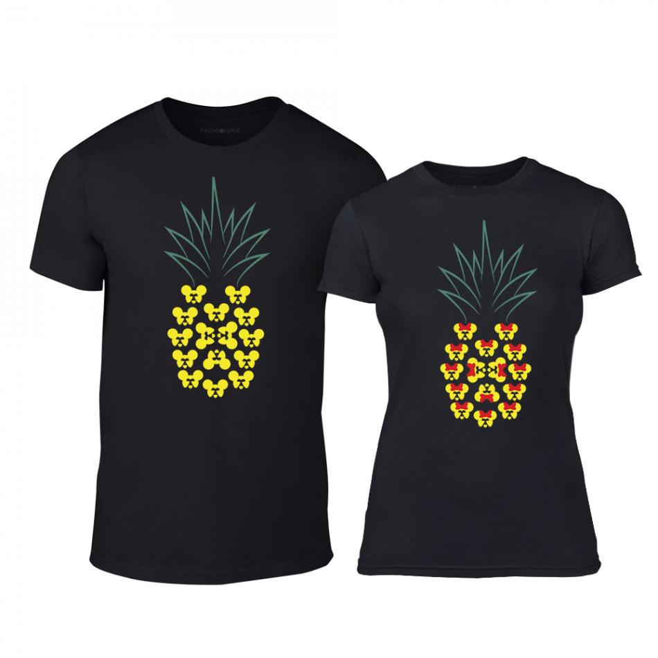 Μπλουζες για ζευγάρια Pineapple μαύρο TMN-CP-263