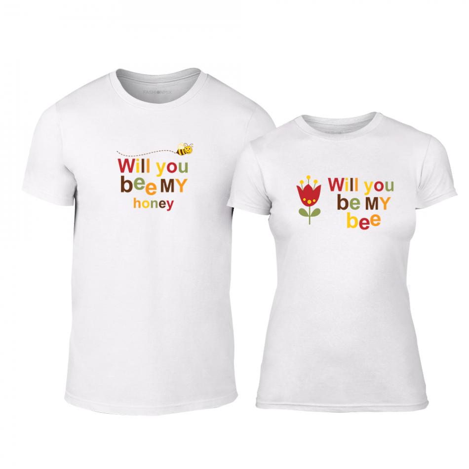 Μπλουζες για ζευγάρια Bee & Honey λευκό TMN-CP-231