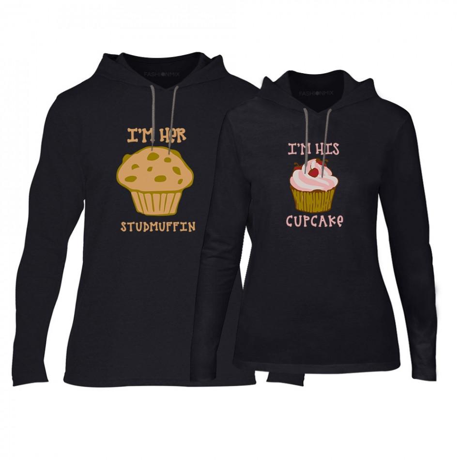 Φούτερ για ζευγάρια Muffin Cupcake μαύρο TMN-CPS-176