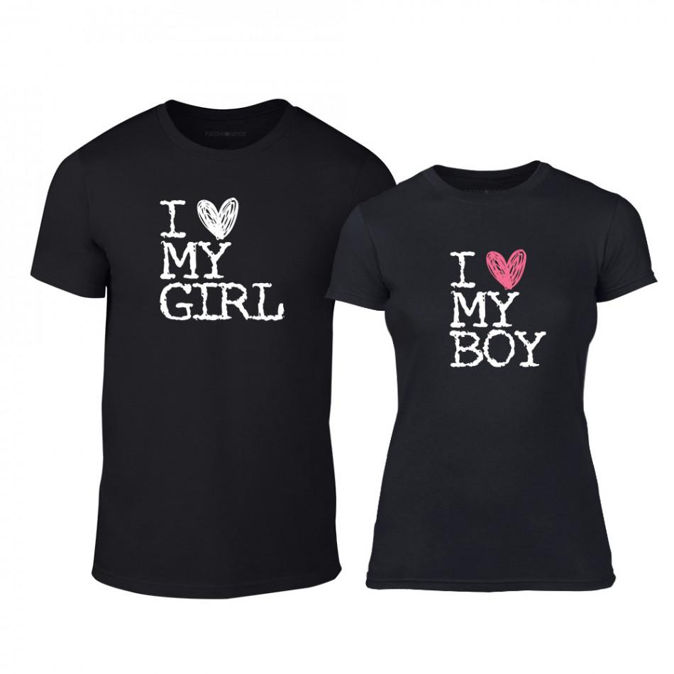 Μπλουζες για ζευγάρια Love My Girl Love My Boy μαύρο TMN-CP-027